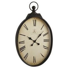 Our oversized pocket watch is either a very clever piece of functional wall art, or proof that gentlemen giants once roamed the earth. Either way, its antiqued face (with <i>Cafe des Marguerites</i> inscription), Roman numerals and classic spade hands combine perfectly with the wrought iron case to create a vintage look. And vintage is very big right now.