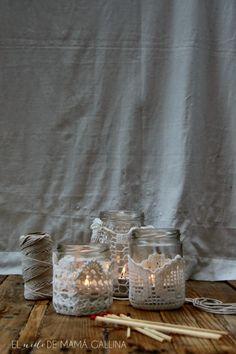 DIY: CÓMO HACER PORTAVELAS DE CROCHET Y TARROS RECICLADOS Candle Holders, Candles, Crafty, Diy, Stitch, Porta Velas, Hanging Decorations, Recycled Jars, Recycled Materials