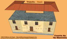 Ensambla el tejado y pégalo sobre el edificio del fuerte Se sabe que originalmente constaba de un torreón y una fuerte casa aspillerada, de dos pisos que se comunicaban por una escalera interior. El techo de vigas de maderas estaba cubierto por tejas de tipo española en la parte superior.