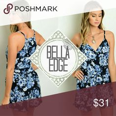 Navy blue floral vneck romper 95% POLYESTER, 5% SPANDEX Made in USA This perfect-for-spring romper features a navy/blue/white floral print all over and sweetheart v-neckline. Looks great with gladiator sandals or heels Size large (10-14) Bella Edge Boutique Pants Jumpsuits & Rompers