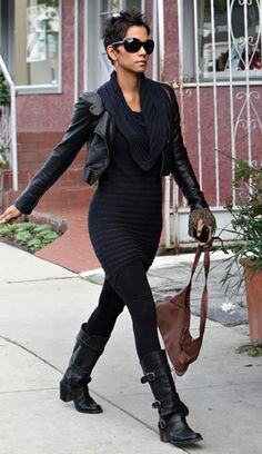 Halle berry if you're skinny enough chunky biker boots are ok, note the cropped leather jacket to highlight the waist curve