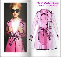 ☂ Red Valentino Pink PVC Trench coat.  With Charlotte Free.
