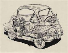 BZ's BMW Isetta 300's: The Motor Magazine Cutaway Drawing