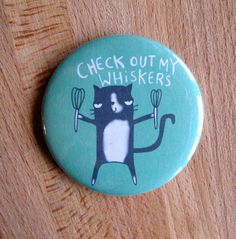 Check out my Whiskers Cat 55mm Badge Keyring by KatieAbeyDesign