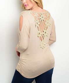 Another great find on #zulily! Tan Crochet Drape Top - Plus #zulilyfinds