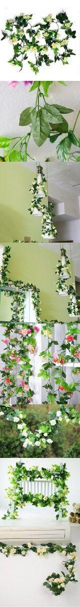 8ft Rose Garland Pack of 5 Artificial Flower Garland Silk Flower Vine Green Leaf Vine Garland Home Decor Wedding Garland Decoration (beiges)