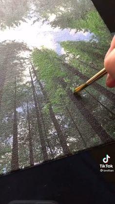 Canvas Painting Tutorials, Diy Canvas Art, Diy Painting, Forest Painting, Acrylic Painting Techniques, Nature Paintings, Acrylic Painting Canvas, Art Paintings, Landscape Paintings