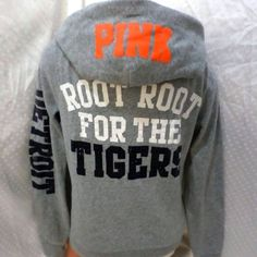 Pink Victoria Secret bling Detroit Tigers hoodie Limited edition Victoria Secret Pink Detroit Tiger's hoodie. None of the lettering is faded and all of the gems are attached. There a few dis colored spots from hard water, shown by the close up of the D. PINK Victoria's Secret Tops Sweatshirts & Hoodies