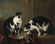 Jean-Baptiste Oudry (Francia, 1686-1755). Katzenmutter mit ihrem Jungen