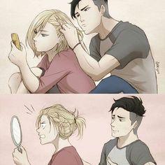 É isso que acontece quando deixa mexer no seu cabelo.kkkkk
