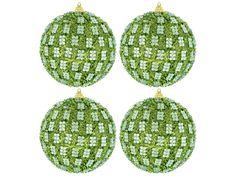 Lime Green Rhinestone Quilt Ball Ornaments