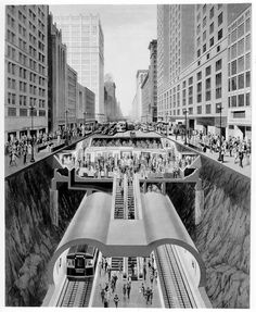 Cross-Section Rendering of State St. Subway (1941) [PRETTY HOT]