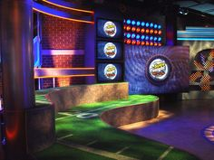 Explore photos of The Score's TV set design in this interactive gallery of the studio. Tv Set Design, Studio Design, Scores, Big Ben, Design Inspiration, Gallery, Building, Roof Rack, Buildings