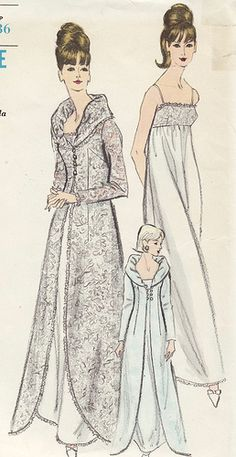 Vintage sewing pattern: glamorous 1960s gown dress, wedding dress