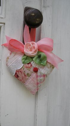 **Quilted Heart Lavender Sachet - Pink Patchwork with Vintage Crochet and Silk Rose