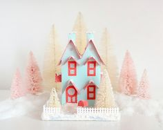 Putz House Valentines Day Decoration Vintage Style Glitter House Double Gable Turquoise/Red Roof