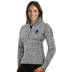 Women's Antigua Golden State Warriors Fortune Pullover ($110) ❤ liked on Polyvore featuring tops, light grey and antigua