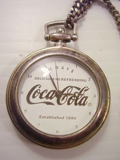Rare 1997 Coca-Cola Coke Pocket Watch With Belt Leather Pouch-Silver ? Plated ? in Collectibles | eBay