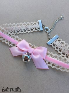 Pink Kitty Bell Chokers - Kawaii Hime Gyaru Sweet Gothic Lolita Choker Chocker Bow Necklace