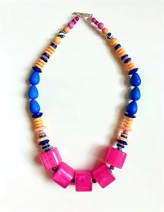 The Baubler Necklace Beaded Necklace, Beaded Bracelets, Ceramic Beads, Acrylic Beads, Design Show, Statement Jewelry, Bold Colors, Magenta, Gemstones