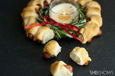 Pigs in the blanket holiday wreath