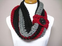 Chunky Bulky Button Crochet Cowl: Crimson Red, Black and Gray Stripe with Black Button. $26.00, via Etsy.