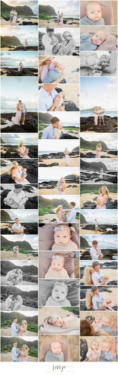 Outdoor newborn twins family beach session at the Makapu'u Tidepools. I love the soft, organic colors and mom's flowy dress! outdoor newborn twins beach family posing ideas. © Oahu Family Photographer - Sharleen Mey Photography