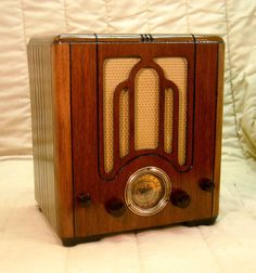 Old Antique Wood Crosley Vintage Tube Radio - Restored & Working Mini Tombstone. eBay auction ends tonight at 9:30 eastern! A great Christmas idea!
