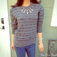 Juicy Couture Gray Barbed Wire Stripe Sweater Edgy and fun! Cozy wool sweater with a twist of danger. Distressed edges and gems as well as around neckline. Gorgeous condition. The Chic Shed; A Current and Classic Fashion Curation.  10% OFF BUNDLES I ❤️ THE OFFER BUTTON ❌NO PP, TRADES, HOLDS❌  15% OFF RETURN BUYER BUNDLES Juicy Couture Sweaters Crew & Scoop Necks