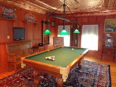 Snazzed up game room with a decorative #tinceiling #billiards #copper #gameroom #decorativeceiling Tin Ceilings, Billiard Room, Ceiling Decor, Art Deco Fashion, Game Room, Home Remodeling, Colonial, Copper, Victorian