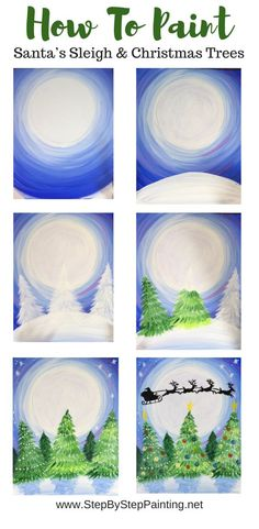 How To Paint Santa Sleigh In Sky - Step By Step Painting How to paint a Santa Sleigh silhouette in the sky on Christmas Eve night. This beginners painting tutorial will guide you step by step. Christmas Paintings On Canvas, Christmas Canvas, Christmas Trees, Santa Paintings, Christmas Art Projects, Santa Sleigh Silhouette, Guache, Theme Noel, Step By Step Painting