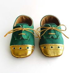 Baby Shoes Boy or Girl Green Canvas with Gold Brogued Leather Crib Shoes