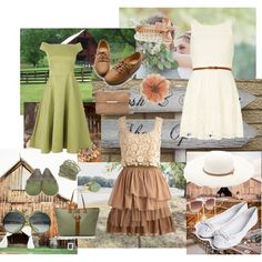 What To Wear A Barn Wedding There Are 3 Outfits In This Set Vertical Green One Tan And Cream