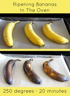 How to QUICKLY ripen bananas in the oven. For when you want to make banana bread…