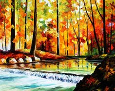 Forest Stream — Palette Knife Contemporary Landscape Oil Painting On Canvas By…