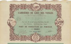 Carrieres de Gres des Vosges - #scripomarket #scriposigns #scripofilia #scripophily #finanza #finance #collezionismo #collectibles #arte #art #scripoart #scripoarte #borsa #stock #azioni #bonds #obbligazioni