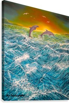 Fantasy, dolphins,waves,ocean,sunset,sunrise,marine animals,,seascape,blue,painting, decor,wall art, canvas print, artwork,for sale,pictorem