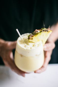 Ginger Pina Colada recipe - we are ready for summer! And easy to make without booze. || Nourish and Inspire Me