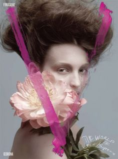 I liked the picture of a woman with a flower and matching pink letter. Everything represents the theme of feminine.