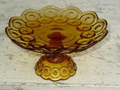 moon and stars vintage amber glass cake stand