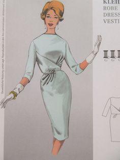 Burda 7176 Sewing Pattern, Slim Skirt Dress Pattern, 1950s Style Dress, Retro Style, Ruched Waistline, Faux Wrap Dress, 2012 Sewing Pattern by sewbettyanddot on Etsy