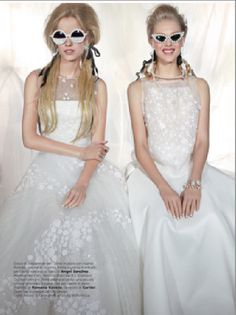 Vogue magazine features Mercura NYC pearl round and cat shades with Mercura pearl neck lace eyewear extension; Vogue Italy Sposa January 2014; styled by Allison St. Germain; Photo by Angelika Buettner; on location at newyorkcityphotostudio.blogspot.com