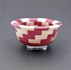 Hand Turned Wood Segmented Bowl - Maple and Purpleheart wood.  via Etsy.