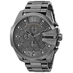 Diesel Chronograph Gunmetal Ion-Plated Stainless Steel Men's Watch - mens watches sales, mens watches all black, mens gold designer watches Black Stainless Steel, Stainless Steel Watch, Cool Watches, Watches For Men, Men's Watches, Luxury Watches, Rugged Watches, Citizen Watches, Popular Watches