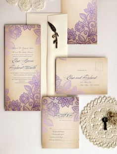 Lace wedding invitations lace vintage  by DesignedWithAmore