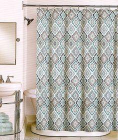 Peri Fabric Shower Curtain Lilian Tile Floral Aqua Grey Teal Taupe White New