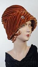 1950s Turban Hat Burnt Orange Swirled Velvet Cecile NY Original Sz 6 5/8