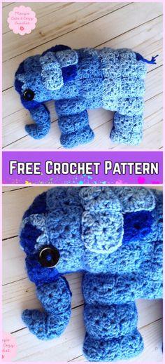 Crochet Elephant Plush Toy Amigurumi Free Patterns-Crochet Granny Square Elephant Amigurumi Free Pattern