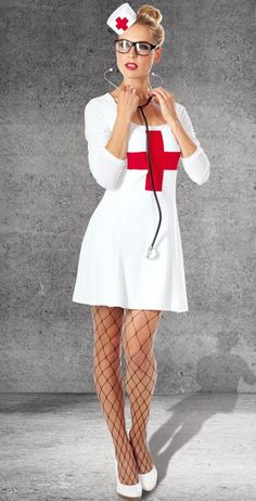 Make nurse costume yourself Nurse Halloween Costume, Sexy Nurse Costume, Pregnant Halloween Costumes, Halloween Outfits, Jobs For Women, Nursing Dress, Girls Uniforms, Halloween Disfraces, Clothing Hacks