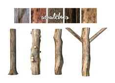"13pumpkin31: "" daer0n: ""  Rustic Tree Trunk Columns Set (New Meshes) (Click on images to enlarge) This set contains: • Column I • Column II • Column III • Column IV • All available in Large, Medium, Small. Swatches are pictured above. Can be found..."